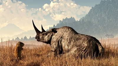 Digital Art - Woolly Rhino And A Marmot by Daniel Eskridge