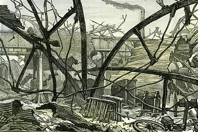 Old Shed Drawing - Woolwich Arsenal London 1887 Damage To The Mounting Shed by English School