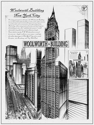 Affordable Drawing - New York Woolworth Building 75 by Art America Gallery Peter Potter