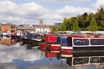 Worcester Diglis Basin Narrow Boats Art Print