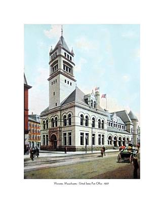 1907 Digital Art - Worcester Massachusetts - United States Post Office - 1907 by John Madison