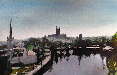 Painting - Worcester Skyline by Paul Mitchell