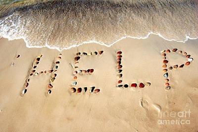 Girlfriend Photograph - Word Help On Beach Sand by Michal Bednarek
