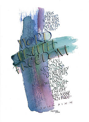 Jewel Toned Painting - Word Truth Freedom by Judy Dodds