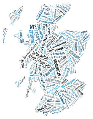 European City Digital Art - Wordcloud Of Scotland by Antony McAulay