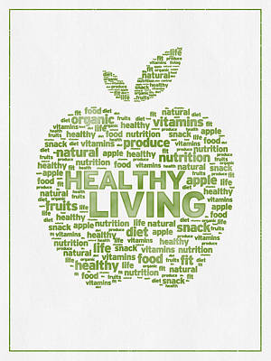 Words Healthy Living - Green Ink Print by Aged Pixel