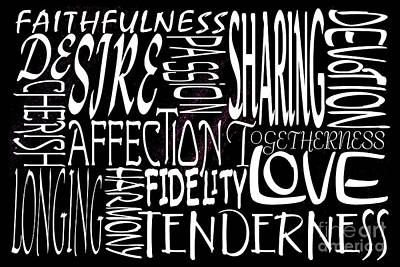 Faithfulness Digital Art - Words Of Love 4 by Wendy Wilton