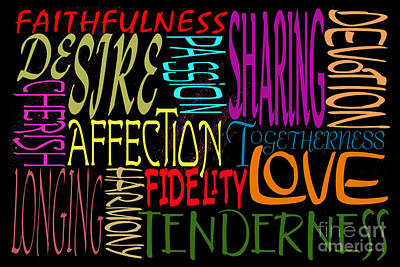 Faithfulness Digital Art - Words Of Love 1 by Wendy Wilton
