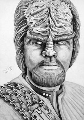Enterprise Drawing - Worf by Judith Groeger