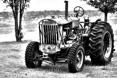 Work A Holic Tractor Art Bw Art Print