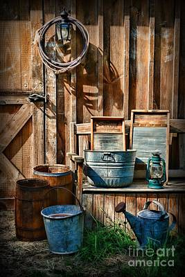 Old Fashioned Tub Photograph - Work At The Farm by Paul Ward