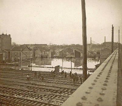 Work On Railway Tracks During The Flooding Of Paris Art Print