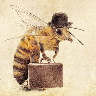 Bee Drawing - Worker Bee by Eric Fan