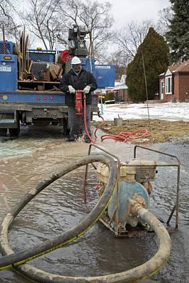 Worker Repairing Water Mains Art Print by Jim West