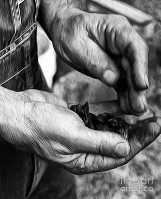 Soil Digital Art - Workers Hands by Brian Mollenkopf