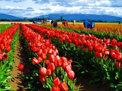 Skagit Digital Art - Workers In Tulip Field by John Parks