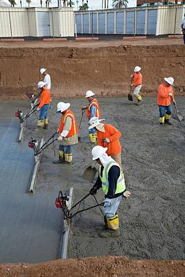 Salt River Photograph - Workers Lining A Canal With Concrete by Jim West
