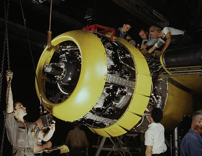 Workers Mounting Motor On A B-25 Bomber Art Print by Stocktrek Images