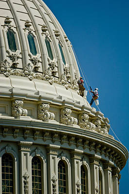 Workers On A Government Building Dome Art Print