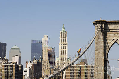 Photograph - Workers On Brooklyn Bridge In Manhattan by Patricia Hofmeester