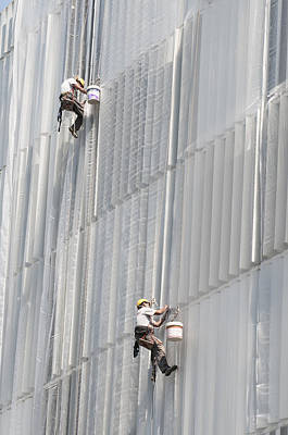 Photograph - Workers On Facade Of Building by Matthias Hauser