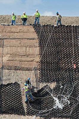 Workers Stabilising A Hillside Art Print