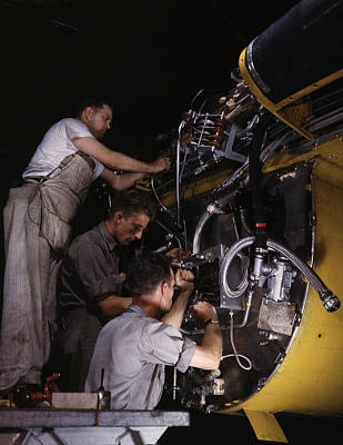 Workers Wiring Assemblies On The Fire Art Print