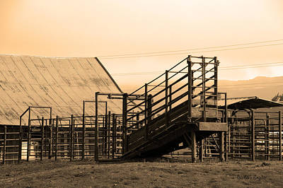 Cattle Chute Photograph - Working Cattle Ranch Black Sepia by Barbara Snyder