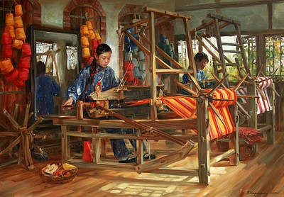 Weaving Painting - Working Day by Victoria Kharchenko