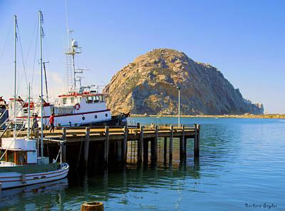 Morro Bay Digital Art - Working Dock And Morro Rock Morro Bay by Barbara Snyder