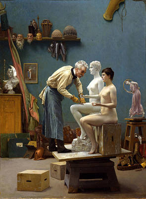 Jean-leon Gerome Painting - Working In Marble. The Artist Sculpting Tanagra by Jean-Leon Gerome