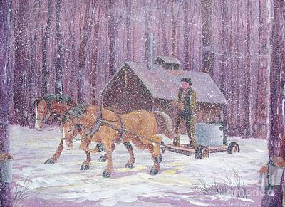 Horse And Sleigh Painting - Working In The Sugar Bush by Jim Janeway