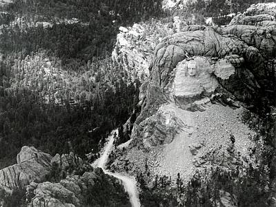 Carved Bird Photograph - Working On Mount Rushmore by American Philosophical Society
