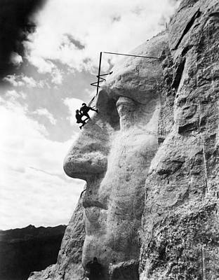 Artist Working Photograph - Working On Mt. Rushmore by Underwood Archives