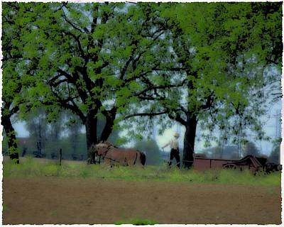 Amish Farms Digital Art - Working The Fence Line by John Feiser