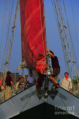 Sports Royalty-Free and Rights-Managed Images - Working The Sails by Kathleen Struckle