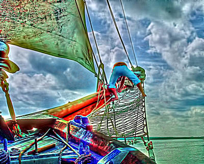 Bow Sprit Photograph - Working The Sails by Sherry Thorup