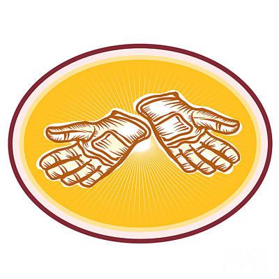 Mitts Digital Art - Workman Utility Gloves Retro by Aloysius Patrimonio