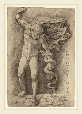 Workshop Of Andrea Mantegna, Faun Battling A Snake Art Print by Litz Collection
