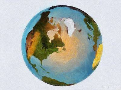 Painting - World 3d Globe by Georgi Dimitrov