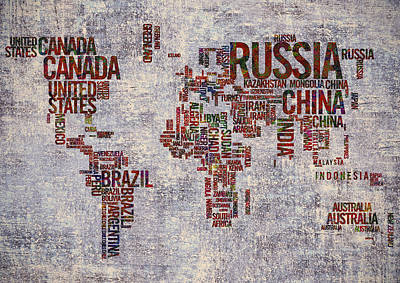 Typography Map Painting - World Map Typography Artwork by Georgeta Blanaru
