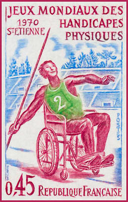 Wheelchair Painting - World Games Of Physical Disabilities 1970 St-etienne by Lanjee Chee