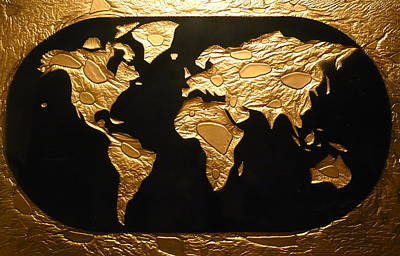Reclaimed Glass Painting - World In Gold - World Map by Rick Silas