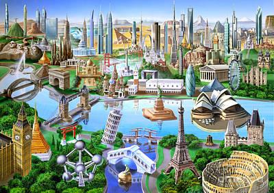 Paris Digital Art - World Landmarks by Adrian Chesterman