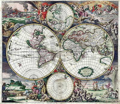 Old Map Painting - World Map - 1689 by Pablo Romero