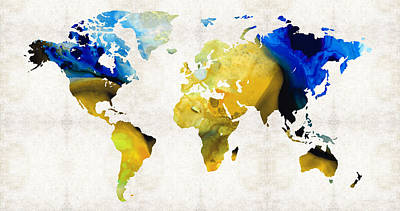 America The Continent Painting - World Map 16 - Yellow And Blue Art By Sharon Cummings by Sharon Cummings