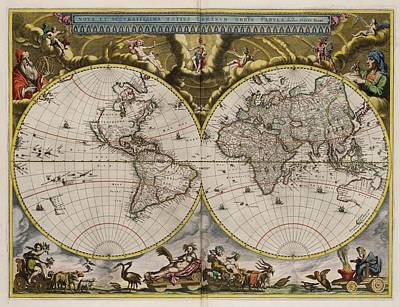 Eastern Europe Drawing - World Map 1664 Ad by L Brown