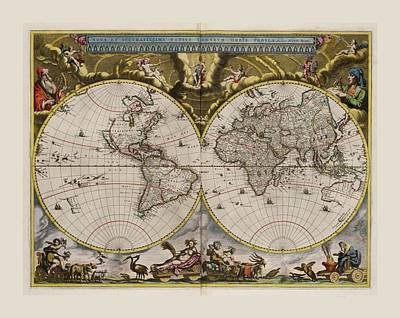 World Map 1664 Ad With Small Matching Border Art Print
