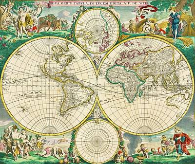 Painting - World Map - 1670 by Roberto Prusso