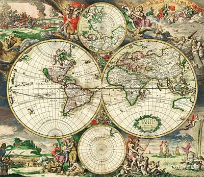 Painting - World Map - 1689 by Pg Reproductions